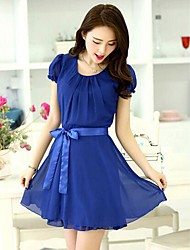 Women's Cute Dress Mini Short Sleeve Blue / Red Summer