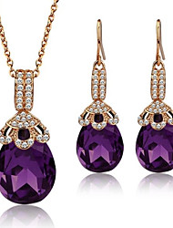 New Items 2014 Necklace Earrings Crystal Gold Plated Party Jewelry Sets for Women