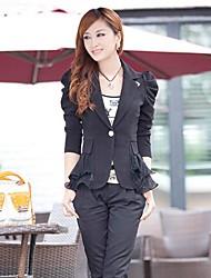 Damen Polo-Kragen-Hauch-Hülsen-dünne kurze Blazer