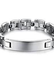 anti-fatigue lisses hommes d'acier inoxydable de calculs biliaires noir soins bracelet