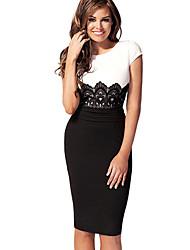 BLK Kontrast Farbe Kurzarm Hip-Paket dünnes Kleid