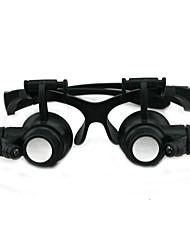 Várias Ampliação Óculos Tipo 10x 15x 20x 25x Zoom Binocular Lupa Assista Repair Magnifier com luz LED
