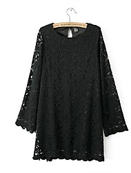 Women's Round Neck Solid Back Button Lace Long Sleeve Dress