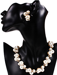 Fashion Pearl For Bride Golden Alloy Necklaces Earrings Vintage Jewelry Sets