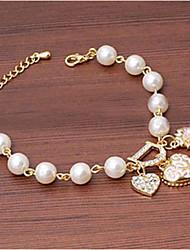 MIKI Heart Dangling Diamante Pearl Bracelet