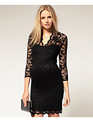 V Neck Lace 3/4 Sleeve Dress Donna S & R