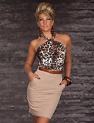 Challenger Women's Halter Leopard Print Bodycon Dress