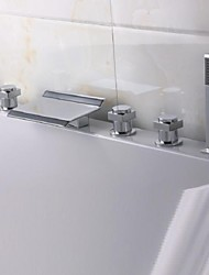 Contemporary Tub And Shower Waterfall with  Brass Valve Three Handles Five Holes for  Chrome , Bathtub Faucet