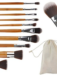 Beauty 10 Pcs Bamboo Handle Makeup Brush Set Tools Make Up Brush Bag