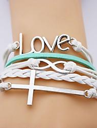 pulsera de cuero amor aleación de múltiples capas y cruzar pulsera hecha a mano infinita