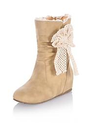 botas de los zapatos de las mujeres del dedo del pie redondo de tacón de cuña mitad de la pantorrilla más colores disponibles