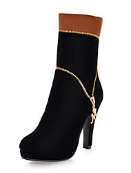 Flocking Women's Stiletto Heel Ankle Fashion Boots