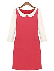 peter pan colarinho manga trimestre elegante magro queda de três mini vestido das mulheres