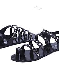 Frauen Flache Heel Sandaletten mit Zehenring Rivet Schuhe