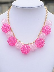Beaded Ornaments Pink Ball Necklace