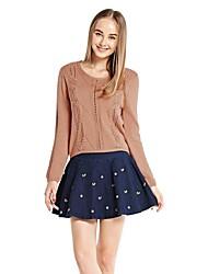OSA Women's Low O-neck Hollow Slim Casual Cardigan Sweater