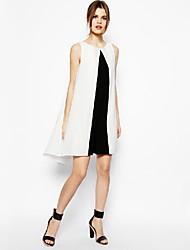 QUEEN ™ Frauen Chiffon Black & White ärmel Kleider über Knie