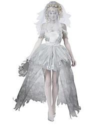 Costumes de Cosplay Costume de Soirée Ange et Diable Esprit Zombie Fête / Célébration Déguisement d'Halloween Blanc Couleur PleineRobe