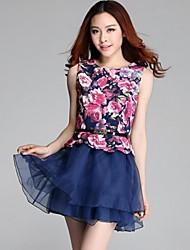 Women's Going out Skater Dress,Floral Round Neck Mini Sleeveless Blue / Black Cotton