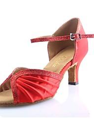 Customized Women's Red Satin with Glitter Latin Salsa Dance Shoe