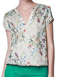 camicia a manica corta elegante scollo a V stampa floreale