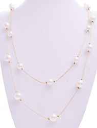 Korean Simple Multilayer Pearl Necklace Women Long Sweater Chain Necklaces