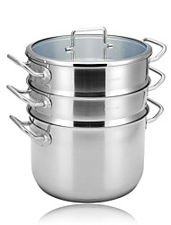 LINKFAIR® 15QT Tri-Ply Stainless Steel Multi Pot With Stream and Boil Basket, LFYC Series, 34.5*24*32.5CM