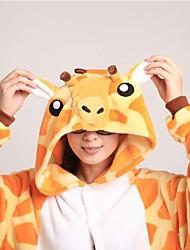 Kigurumi Pijamas Girafa Malha Collant/Pijama Macacão / Chinelos Festival/Celebração Pijamas Animal Amarelo Miscelânea Velocino de Coral