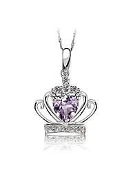 Pure S925 Silver Necklace With Crystal Pendant