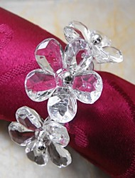 Three Flowers In Crystal Napkin Ring,Acrylic Beades, 3.5CM, Set of 12,