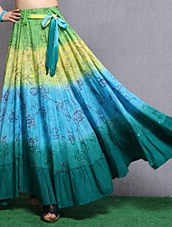 Women's 100% Cotton Novel Casual Sequin Neon Long Skirt