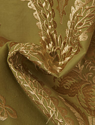 "TWOPAGES® Rococo Gold Floral/Botanical Linen/Polyester Blend Embroidery Fabric Width=55"" (140 cm)"