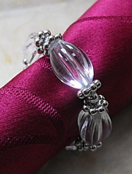 Small Silver Ring And Crystal Beads Napkin Ring,Acrylic Beades, 3.5CM, Set of 12,