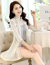 Women's Korean Style Hollow Out Lace Long Knitted Sweaters Cardigan