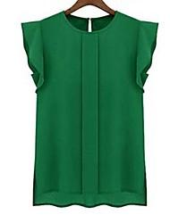 Women's Round Neck Short Sleeve Chiffon Blouse