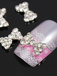 10pcs Bling Diamond Bowtie Metal 3D Alloy Nail Art Decoration