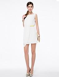 Women's White Dress , Casual/Party/Work/Plus Sizes Sleeveless