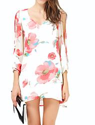 hdy elegante vestido de cuello v suelta estampado floral