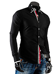 Hansun мужская двойная блокирования воротник цвет рубашки