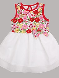 Girl's Red Dress Cotton / Spandex Summer