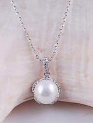 Women's Fashion Alloy Gold Rhodium Plated and Shell Pearl Necklace