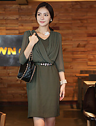 Yeranyi Green Fashion Fitted Dress With Belt