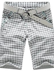 dos homens bermudas xadrez moda calças de algodão quinta