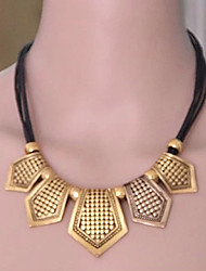 Dotu&A Retro Geometric Leather Cord Necklace Earrings Set