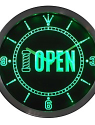 Barber Pole OPEN Shop Display Neon Sign LED Wall Clock