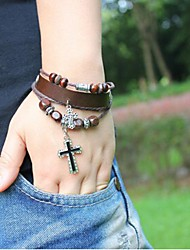 Unisex's Cross Beads Leather Braided Bracelets