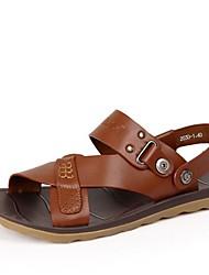 Men's Summer Comfort Novelty Slingback Leather Casual Flat Heel Navy Black Brown Blue Khaki