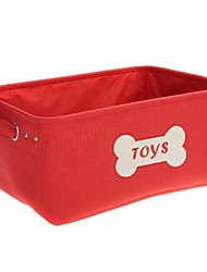 Rectangle Foldable Shape Polyester Fabrics Made Store Content Basket - Red