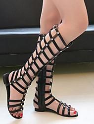 Frauen Flache Heel T-Strap Sandaletten mit Schnürer