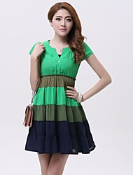 Women's Color Block Green Dress , Beach/Casual/Party/Plus Sizes V Neck Short Sleeve